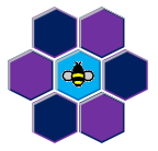 herbBee logo bee on colorful honeycomb
